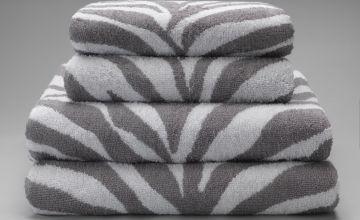 Argos Home Zebra 4 Piece Towel Bale - Grey
