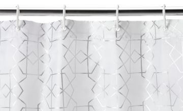 Argos Home Art Deco Geometric Shower Curtain - Silver