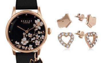 Radley Ladies Black Leather Strap Watch & Earrings Gift Set