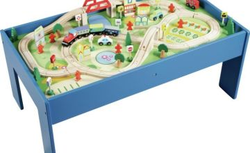 Chad Valley Wooden Table and 90 Piece Train Set