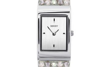 Seksy Rocks Ladies Silver/Pink Coloured Bracelet Watch