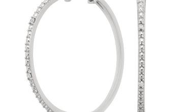 Revere Sterling Silver 0.03ct tw Diamond Hoop Earrings