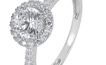 Revere 9ct White Gold Round Cut Cubic Zirconia Halo Ring