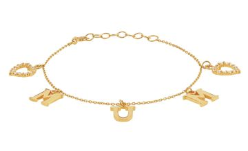 Moon & Back 9ct Gold Plated Mum Heart Charm Bracelet