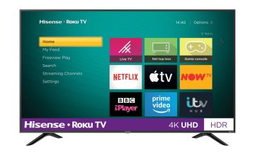 Hisense Roku 55 Inch R55B7120UK 4K Smart HDR LED Freeview TV