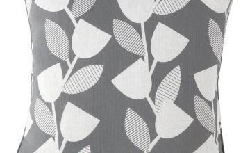 Argos Home Geo Floral Cushion - Grey