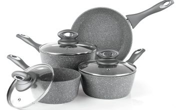 Salter 4 Piece Marble Effect Aluminium Pan Set
