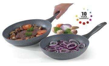Salter 2 Piece Marble Non-Stick Aluminium Frying Pan Set