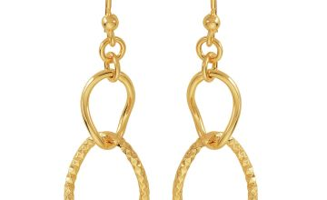 Revere 9ct Gold Plated Sterling Silver Oval Drop Earrings