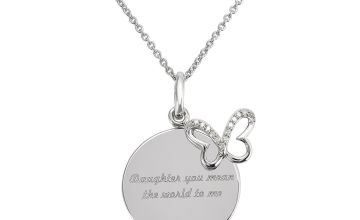 Moon & Back Sterling Silver Diamond Disc Pendant Necklace