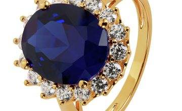Revere 9ct Gold Plated Sterling Silver Halo Ring