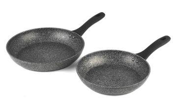 Salter Megastone 2 Pc Silver Coated Aluminium Frying Pan Set