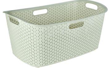 Curver 47 Litre Rattan Laundry Basket - Cream