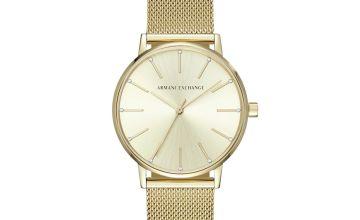 Armani Exchange Ladies Lola Gold Mesh Strap Watch