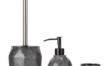 Argos Home 3 Piece Bathroom Accessory Set - Black Glitter