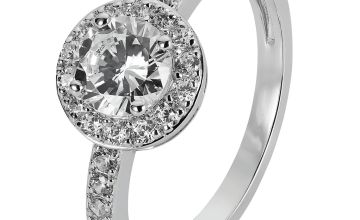 Revere Sterling Silver Cubic Zirconia Halo Ring