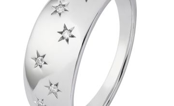Revere Sterling Silver 0.05ct tw Diamond Star Ring