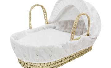Broderie Anglaise Dolls Moses Basket - White