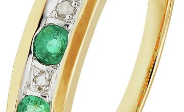 Revere 9ct Gold Emerald & Diamond Eternity Ring