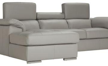 Argos Home Valencia Left Corner Leather Sofa - Light Grey