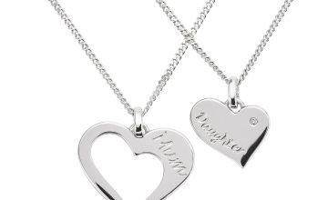 Moon & Back Sterlng Silver Mother/Daughter Pendant Necklace