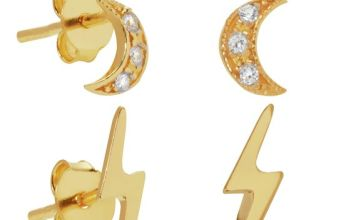 Revere 9ct Gold Plated Mix Set of Earrings Set of 6