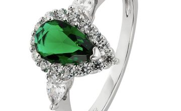 Revere Sterling Silver Emerald Colour & Clear Set Ring
