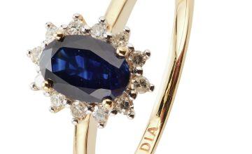 Revere 9ct Gold Sapphire & Diamond Cluster Ring