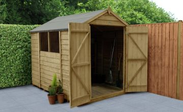 Forest Wooden 8 x 6ft Overlap Double Door Apex Shed