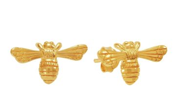 Revere 9ct Gold Plated Sterling Silver Bee Stud Earrings