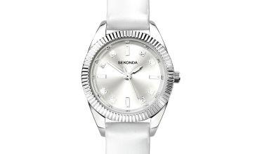 Sekonda Ladies White Polyurethane Strap Watch