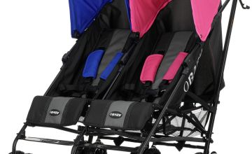 Obaby Apollo Black and Grey Double Pushchair - Pink & Blue