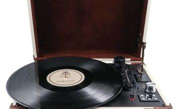GPO Ambassador Record Player - Cream and Brown