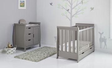 Obaby Stamford Mini Sleigh 2 Piece Nursery Set - Taupe Grey