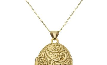 Moon & Back 9ct Gold Oval 4 Photo Locket  Pendant Necklace