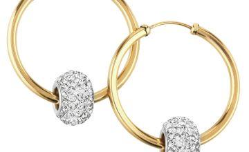 Revere 9ct Yellow Gold Crystal Glitter Slider Hoop Earrings