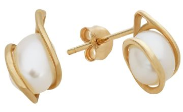 Revere 9ct Gold White Cultured Freshwater Pearl Earrings