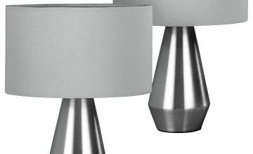 Habitat Maya Pair of Touch Table Lamps - Grey