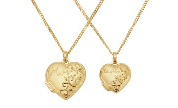 Moon & Back 9ct Gold Plated Silver Mum & Daughter Locket
