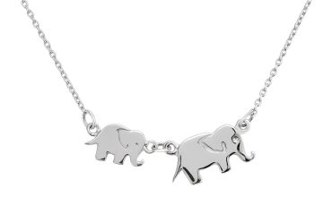Moon & Back Sterling Silver Elephant Pendant Necklace