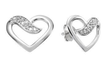 Revere Sterling Silver 0.02ct tw Diamond Open heart Studs