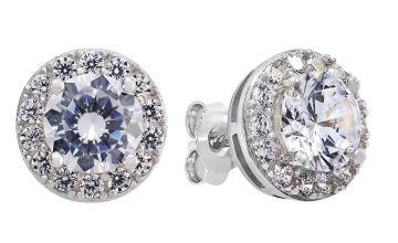 Revere Sterling Silver Cubic Zirconia Halo Stud Earrings