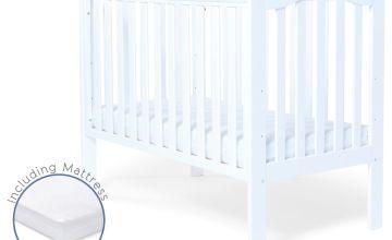 Baby Elegance Sarah Baby Cot with Mattress - White
