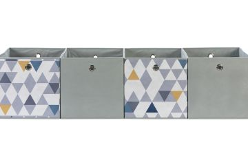Argos Home Set of 4 Squares Plus Boxes - Mosaic & Soft Grey