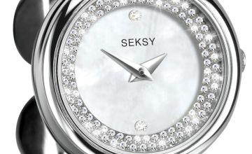 Seksy Ladies Stainless Steel Crystal Set Watch