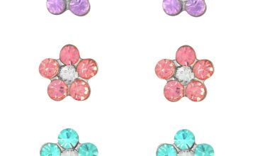 Revere Kid's Silver Crystal Flower Set of 3 Stud Earrings