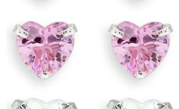 Revere Kids Sterling Silver Crystal Heart Earrings -Set of 3