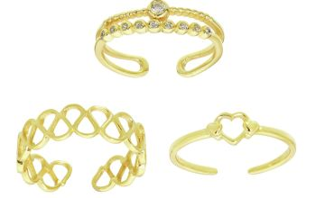State of Mine 9ct Gold Plated Toe Rings - Set of 3