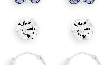 Revere Kids Butterfly Crystal Set Hoop Earrings Set of 3