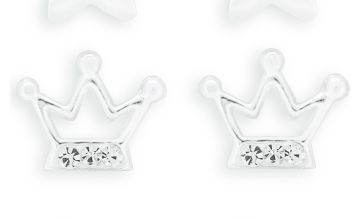 Revere Kid's Sterling Silver Crystal Stud Earrings Set of 3